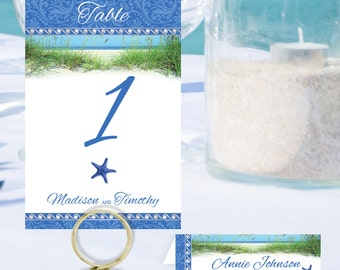 Beach Table Numbers and Place Cards BCH-07-Digital Download