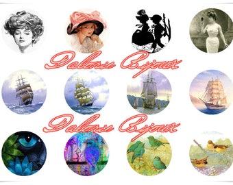 25 mm, Collage, Planche d'Images Digital Divers pour cabochons ronds 25