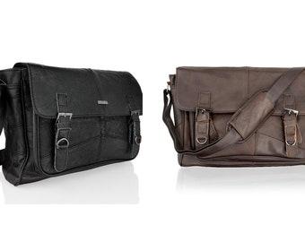 "14.5"" Leather Landscape Laptop Messenger Bag Satchel Style 100% Genuine Leather"