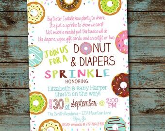 Baby Sprinkle Invitation, Donuts & Diapers Sprinkle Invitation, Donuts Baby Boy Shower, Gender Neutral Invitation, Digital File DIY