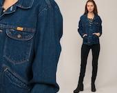 Oversized Jean Jacket 80s Denim Jacket Blue Trucker Jacket 1980s Vintage Rustler Biker Button Up Hipster Large