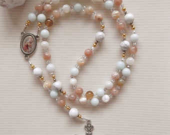Mother Of Pearl Sunstone - Saint Christopher Catholic Gemstone Rosary - Peach Aqua White - OOAK Made in the UK