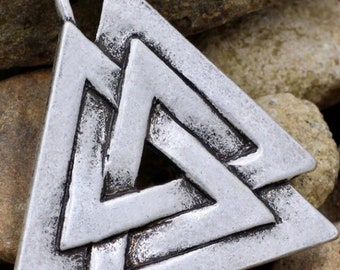 Antiqued Silver Plated Viking Norse Pendant Necklace - Valknut