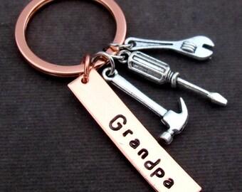 Grandpa Keychain, Grandpa Gift, Birthday gift for Grandpa, Father's Day gift, Grandfather Gift, Grandad's Tools Keychain, Free Shipping USA