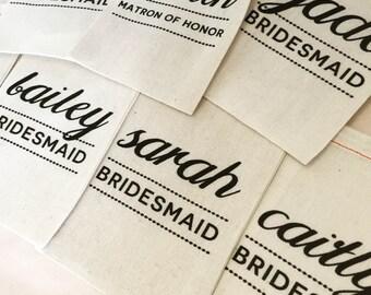Personalized Bridesmaid Favor Bags, Custom Bridesmaid Gift Bag, Bridesmaid Bags, Bridal Party Gift Bags, Custom Name Gift Bag, Maid Of Honor