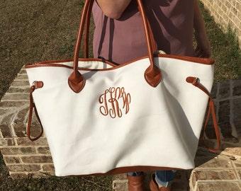 Designer Inspired Canvas Tote Monogram Personalized Womens Purse Beach Bag