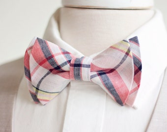 Bow Tie, Mens Bow Tie, Bowtie, Bowties, Ties, Bowties, Groomsmen Bow Ties, Wedding Bow Ties - Coral, Bush, Navy Organic Madras Plaid Plaid