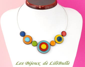 Handcrafted ceramic - 'confetti' necklace multicolor model 2