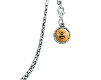 Bee on honeycomb metal bookmark page marker with charm