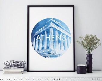 Parthenon, Athens , Greece Watercolour Print Wall Art   4x6 5x7 A4 A3 A2
