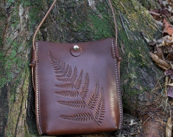 Leather Crossbody Bag, Fern Leaf Design, Tooled on Veg-Tanned Brown Leather, Small Leather Essentials Bag