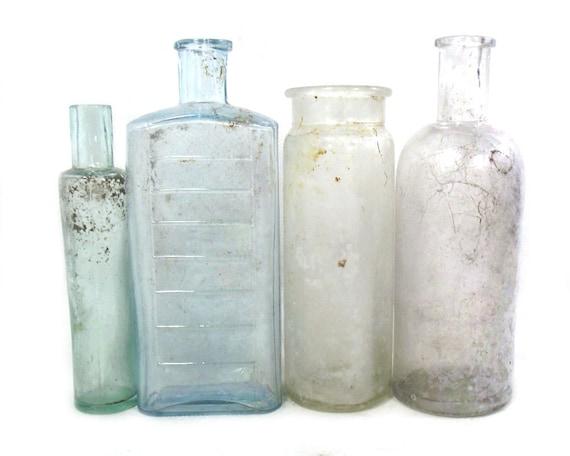 "6"" Antique Set of Glass Bottles and Jars"