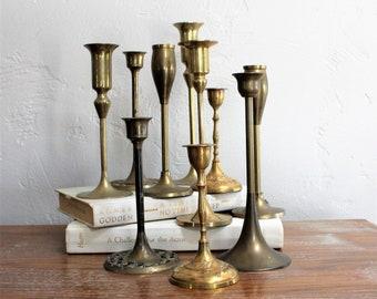10 Brass Candlesticks Wedding Decor Candle Sticks Graduated Candlestick Lot Candlestick Collection Event Decor Candlestick Set Candle Holder