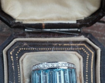On Hold For Mary 14k Gold Diamond Baguette Aquamarine Wedding Ring Band