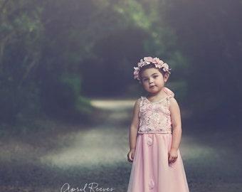 Flower girl pink floral Maxi dress 6