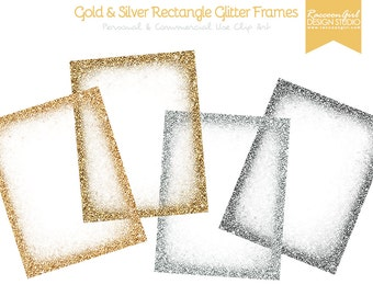 Gold and Silver Rectangle Glittery Digital Frames Set - Personal & Commercial Use
