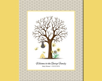 Bumblebee Baby Shower Thumbprint Tree, Baby Shower Guestbook, Thumbprint Tree with Faux Matte, Honeybee Guestbook Thumbprint Tree