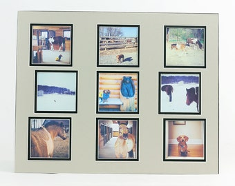 Instagram Collage Photo Mat - Fits 16x20 Frame - Multi Opening - Custom Color - Double or Single Matting