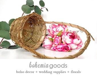 Flower Girl Basket, rustic wood basket, twig Basket, Small Rustic Basket, Wedding Basket, Easter Basket,