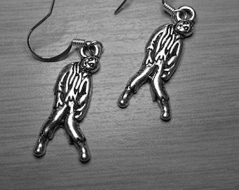 Silver plated zombie drop earrings
