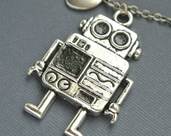 Robot Necklace, Antique Silver Robot Charm Jewelry,Initial Necklace, Initial Hand Stamped, Personalized