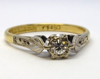 1940s Style Diamond Solitaire Ring | Size M3/4 (UK) 6.75 (US) | Free Sizing / Shipping