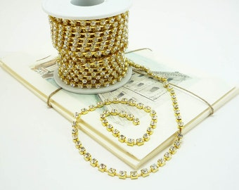 4mm Gold Rhinestone Chain in Clear Crystal for jewelry, accessories, and fashion trims 1 Yard Qty