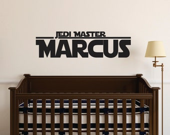 star wars wall decal boys room star wars decal name jedi master name decal - Star Wars Room Decor
