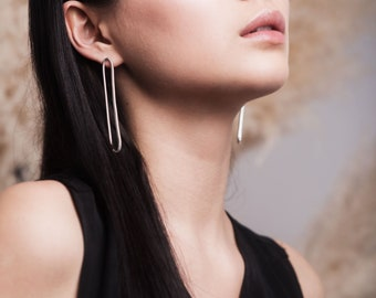 Sterling silver oval drop studs   Statement contemporary earrings