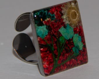 stainless steel flowers ring