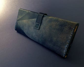 Dark night blue / Elegant handmade leather wallet
