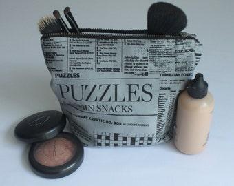 SALE *Was 20* Newsprint Cotton Make-Up Bag, Cosmetic Bag, Zippered Bag, Small Bag, Newspaper, Hand Printed, Organizing Bag
