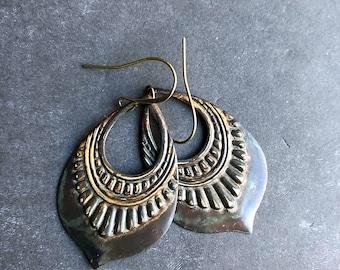 Tribal earrings southwest earrings ethnic earrings boho earrings patina earrings rustic earrings earthy earrings