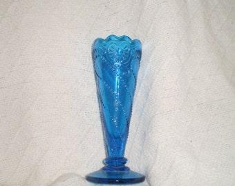 Beautiful Vintage Tan and Blue Gl Vase on