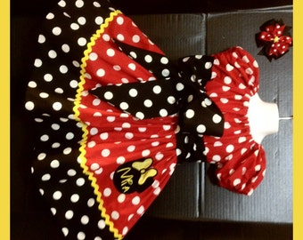 Custom Made Minnie Mouse Dress birthday party Embroidered  Princess Applique Ears Name Inspired Yellow Polka dot 24M 2T 3T 4 5 6 7 8 10