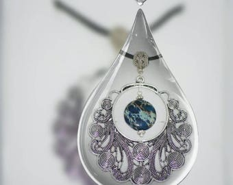 Handmade Vintagle Pendant Necklace with Natural Blue Jasper Stone  Jewelry
