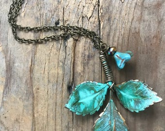 Patina Brass Leaf Necklace With Blossom Brass Jewelry Vintage Style Fall Spring Nature Inspired Woodland Bridal Leaf Jewelry Gifts Under 40