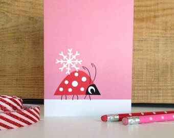 Christmas Ladybird And Snowflake Card-Children's Christmas Card-Merry Christmas Card-Seasonal Greetings-Cute quirky Christmas Card-Uk Seller