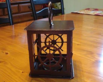 Clearance- Ship Wheel Candle Lantern (Flat Black)
