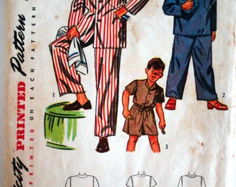 """Vintage 1948 Simplicity 2548 Boys' Pajamas 3 Styles Sewing Pattern Size 6 Chest 24"""""""