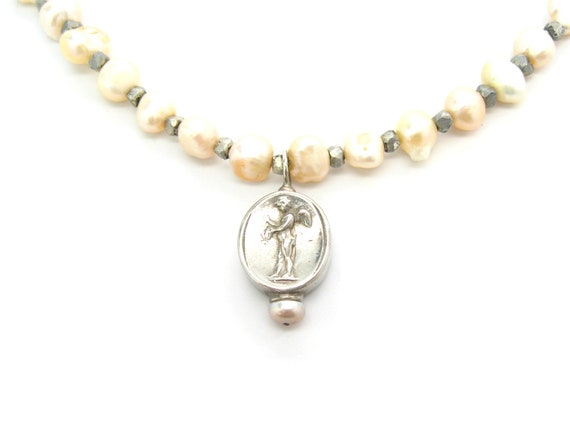 Vintage Freshwater Pearl Necklace Victorian Style Sterling Silver Cupid Cherub