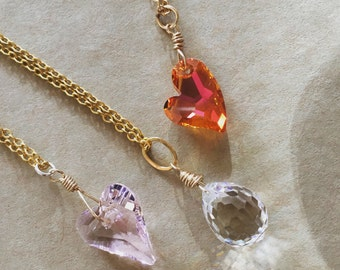 Crystal Heart Necklace, Astral Pink Devoted 2 U Swarovski, Gold Fill Chain Necklace, Heart Jewelry, Valentine Necklace, Long and Layering
