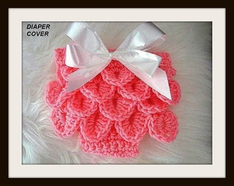 Baby CROCHET  PATTERNs Diaper Cover , # 416, Crocodile Stitch, tushie cover, nappy cover... newborn to 12 months
