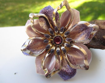 Lovely Lilac Enameled Flower Brooch with Purple Glitter and a Rhinestone