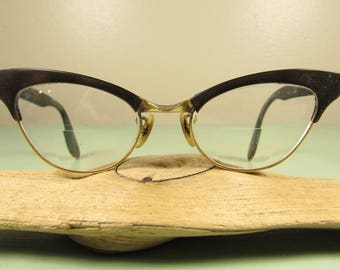 Cat Eye Eyeglasses - Vintage Bausch & Lomb BL Brown Black Women Prescription