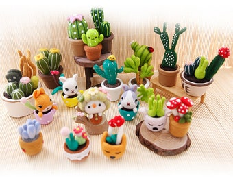 Cute needle felting kits - succulent plants, cactus, and cute potted plants, cute office decoration