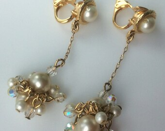 Delicate Faux Pearl and Crystal Drop Earrings