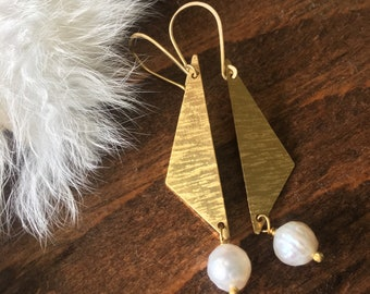 Textured Brass Triangle Pearl Earrings