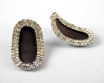 Vintage 1950s Shoe Clips   50s Clear Rhinestone Black Fabric Oval Stand-Up Shoe Decorations