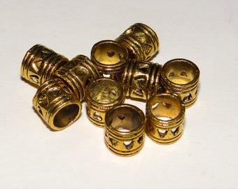 set of 20 heart pattern gold metal beads